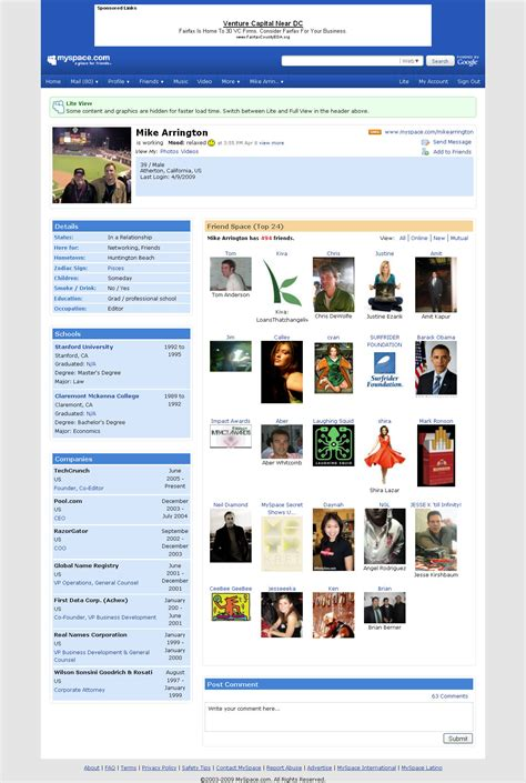 Finding On Myspace Myspace Lite Brings Bloated Profile Pages To Size Techcrunch