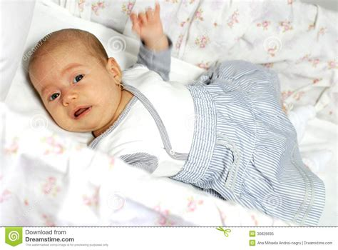 Baby Cries In Crib Baby In Crib Royalty Free Stock Photo