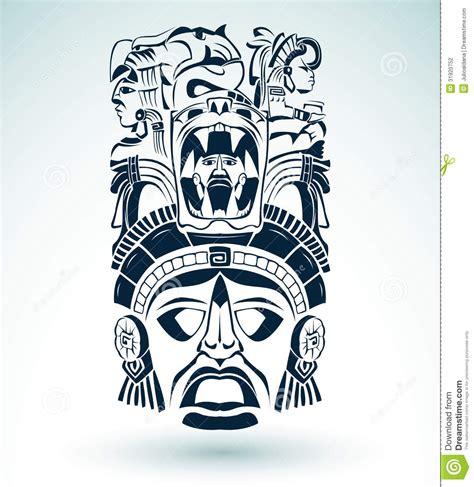 vector mask mexican mayan aztec motifs symbol vector