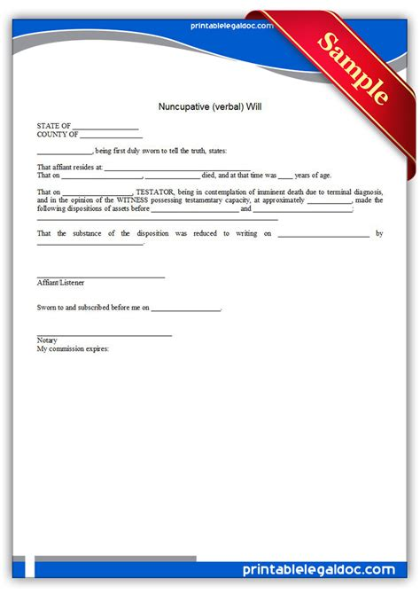 free printable nuncupative verbal will form generic