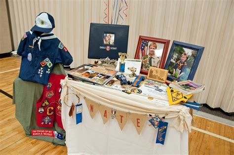 Eagle Scout Ceremony Decoration Ideas by Eagle Court Of Honor Display Table Wish I Had Thought Of