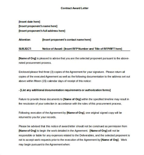 Contract Winning Letter Award Letter Template 13 Free Word Pdf Documents Free Premium Templates