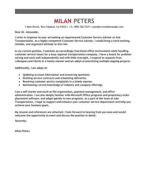 Service Advisor Cover Letter by Customer Service Advisor Cover Letter Exles Transportation Cover Letter Sles Livecareer