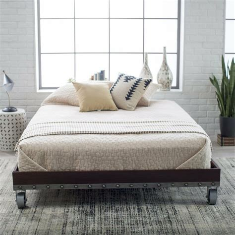 bed platform daybed frame rustic twin wheels modern industrial nailhead metal ebay