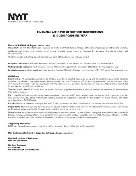financial affidavit financial affidavit of support new york free