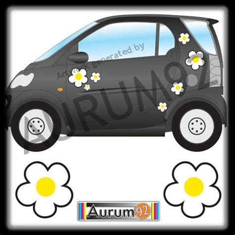 Car Yellow Sticker by White And Yellow Daisies Car Stickers Flower Car Stickers