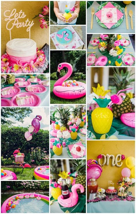 themes in my girl first birthday party with flamingo and pineapple theme