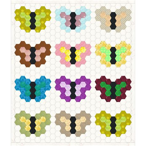 Hexagon Patchwork Quilt - free scrappy hexagon quilt idea with butterfly design by