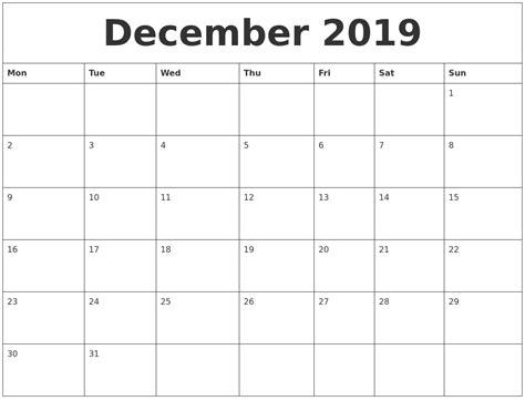 december 2019 free printable calendar templates