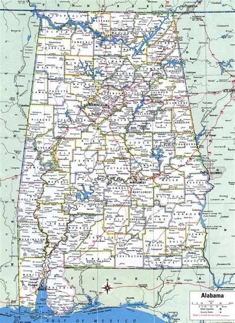alabama road map with cities alabama county
