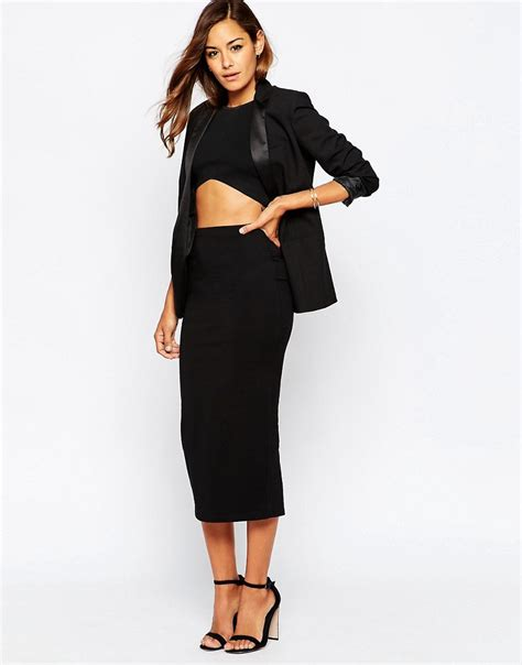 asos asos longer length midi pencil skirt at asos