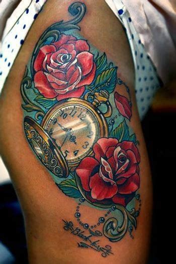roses and clock tattoo tattoomagz