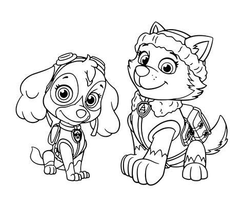 coloring page paw patrol everest sky everest patrol free coloring page animals kids paw