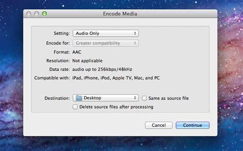 format m4a adalah mengkonversi video ke audio track langsung di mac os x