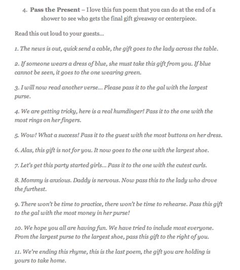 christmas pass the gift game pass the present poem heidi s babyshower poem gaming and babies
