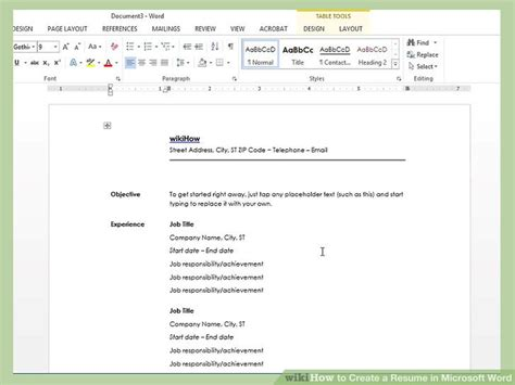Creating Cv Template Word by How To Create A Resume In Microsoft Word With 3 Sle