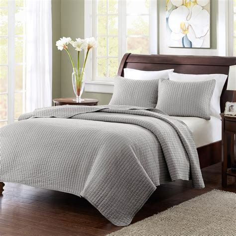 grey quilted coverlet keaton quilted coverlet set grey by madison park free