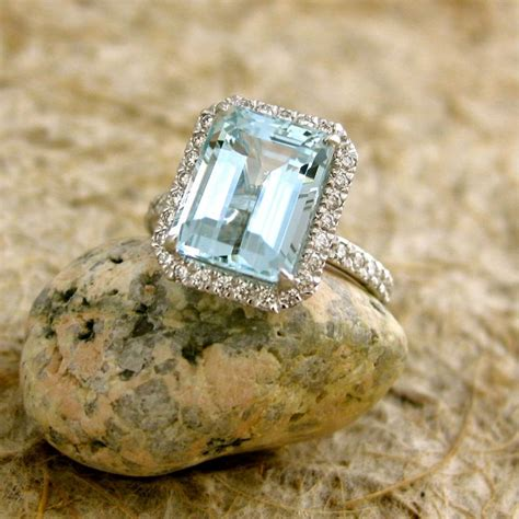 sky blue green aquamarine engagement ring in 18k white