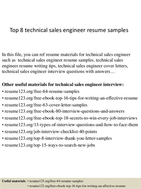 best resume sles for engineers top 8 technical sales engineer resume sles
