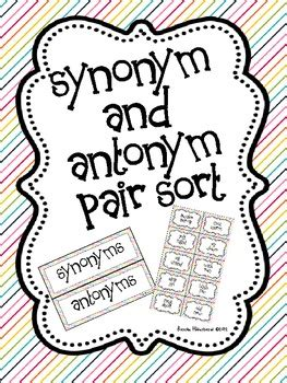 Sketches Synonym by Synonym And Antonym Pair Sort By Once Upon A Learning