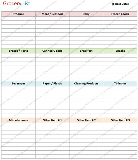 free grocery list template healthy grocery list template printable