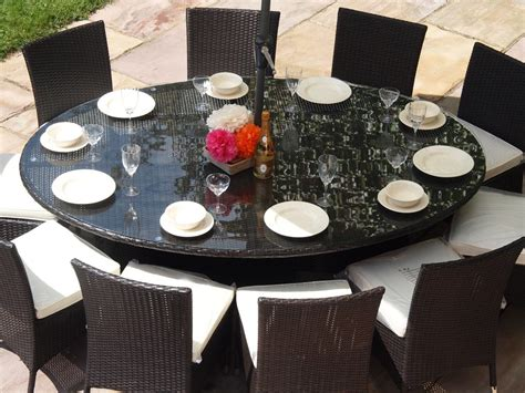 Patio Table Seats 10 Royal Brown Rattan Garden Furniture Oval Table 10 Dining Chairs Patio Set Ebay