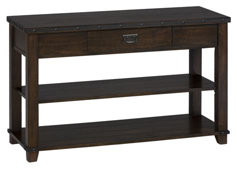 sofa table with drawer traditional plank top sofa table with drawer and 2 shelves