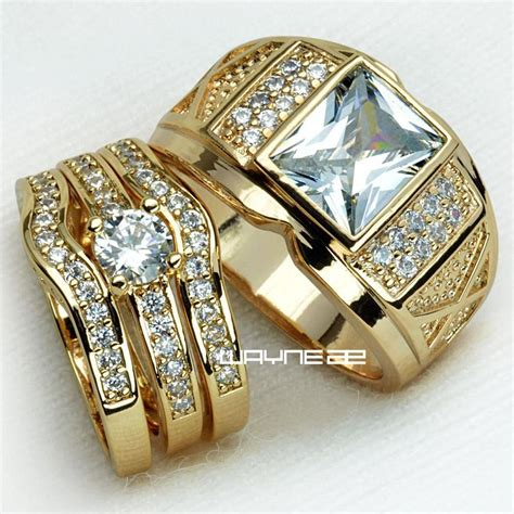 couples engagement rings for him and set gold filled
