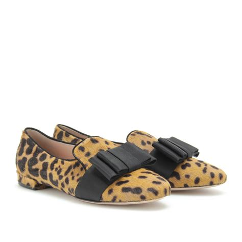 slipper style loafers miu miu animal print slipper style loafers in brown lyst