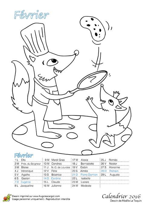 Dessin à colorier du Calendrier des animaux Fevrier 2016