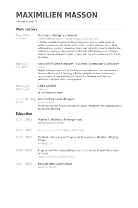intelligence analyst resume business intelligence analyst resume sles visualcv
