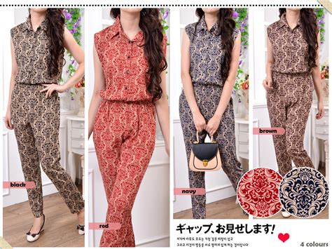 Jumpsuit Import Murah 1758 White jual fashion wanita sleeveless shirt ethnic batik jumpsuit