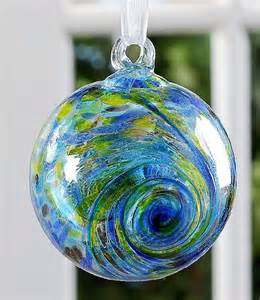 green blue colored glass friendship ball christmas