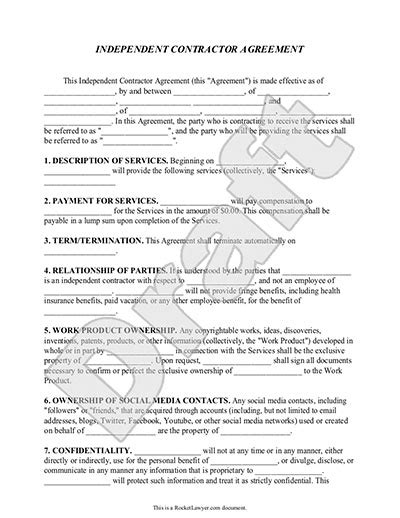 Sle Independent Contractor Agreement Form Template Pa Construction Contract Template