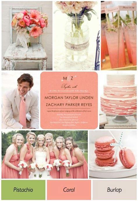color theme ideas coral pistachio and burlap summer wedding colors