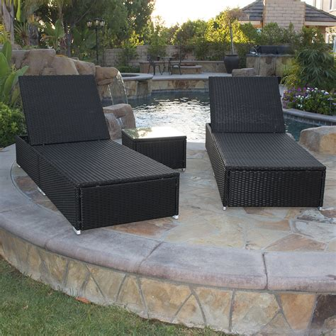 black wicker chaise lounge 3 piece wicker rattan chaise lounge chair set patio steel