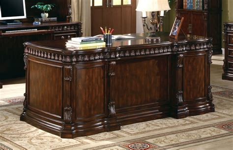 Large Home Office Desk Union Hill Pedestal Executive Desk With Leather
