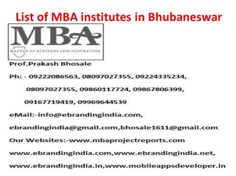 Mba In Bhubaneswar by List Of Mba Institutes In Bhubaneswar