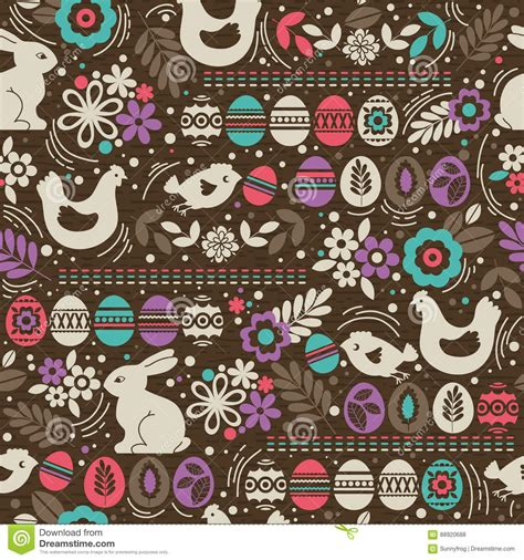 brown paper pattern illustrator seamless brown pattern with color easter eggs rabbit