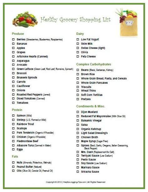 printable grocery list pinterest printable healthy food grocery list