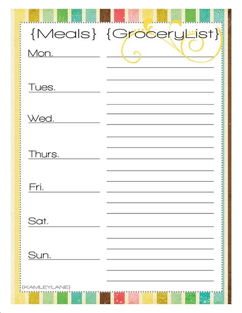 printable meal planner with grocery list 6 best images of weekly printable grocery list weekly