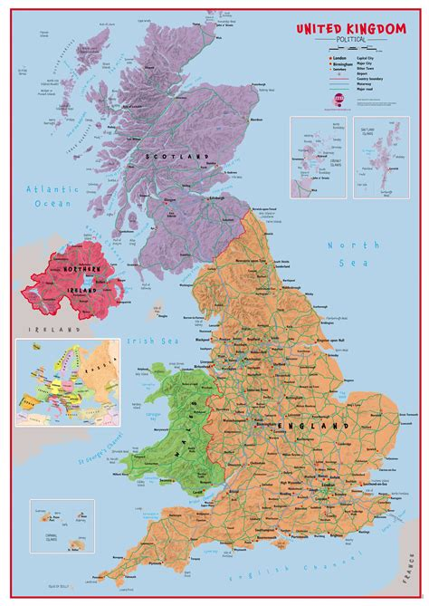 map uk primary uk wall map political