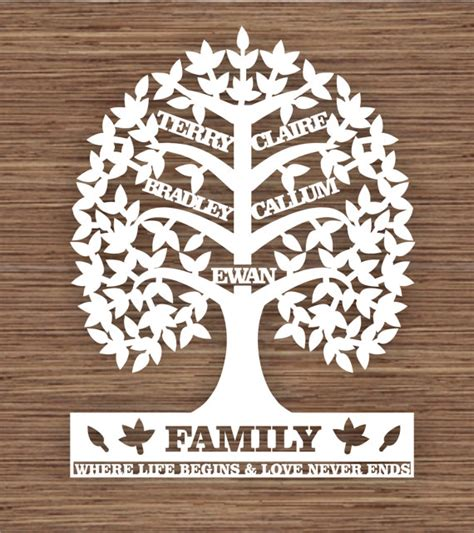 family cut out templates custom leaf family tree for 5 five family members pdf svg