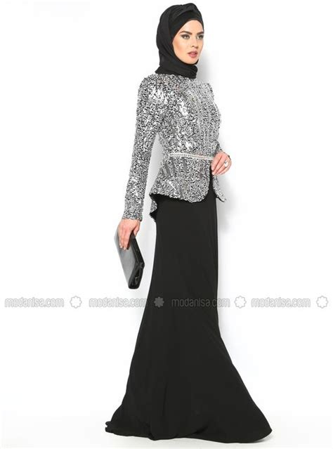 baju formal arab st sequin evening dress black muslim evening