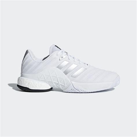 adidas mens barricade boost 2018 tennis shoes white silver tennisnuts