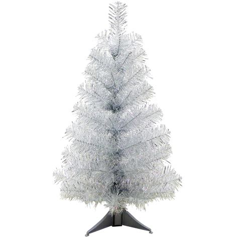 24 quot mini artificial tinsel desk top christmas tree