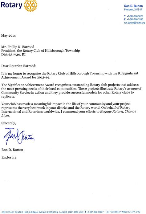 Award Letter Thank You 2014 ri significant achievement award may 28 rotary club