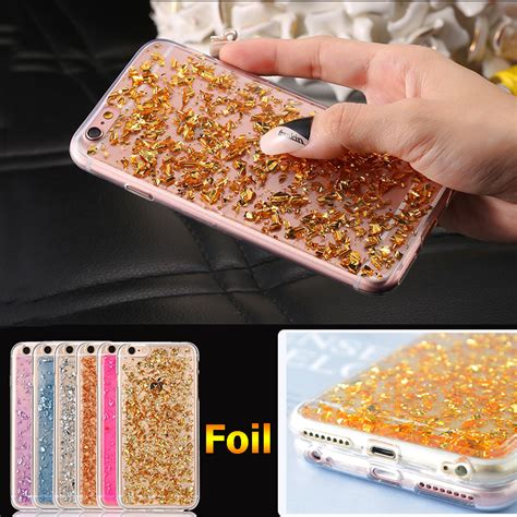 For Iphone 5 5s Soft Luxury Bling Glitter Shine luxury gold foil bling glitter clear soft tpu for iphone 7 7 plus se 5 5s 6 6s plus se 5