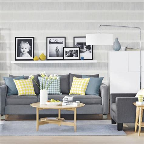 grey wallpaper front room grey and yellow living room ideas and d 195 169 cor inspiration