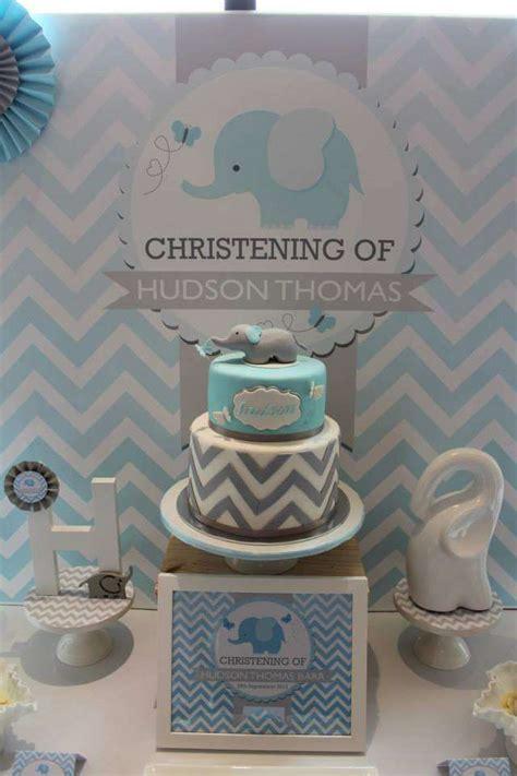 decoracion pasteles religiosos chevron and blue elephant baptism party ideas pasteles